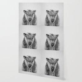 Fluffy Cow - Black & White Wallpaper