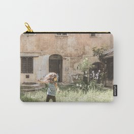 Playful in Nature | Happy Wild Skipping Child Vintage Outdoor Field Rustic Charming Country Farm Carry-All Pouch