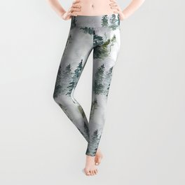 Watercolor forest green snow Christmas pine tree Leggings