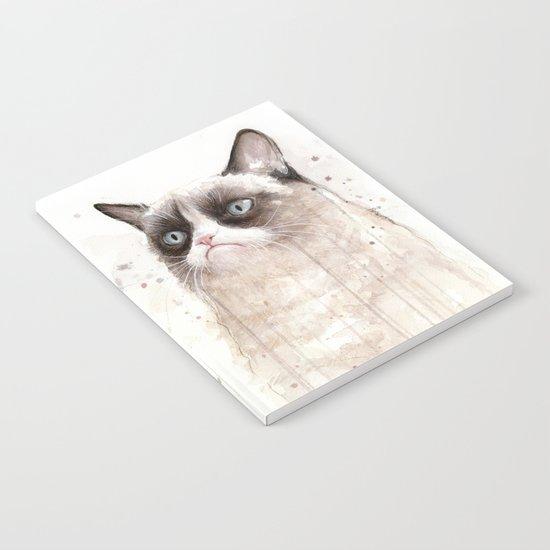 Grumpy Watercolor Cat Geek Meme Whimsical Animals Notebook