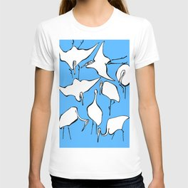 """Katsushika Hokusai """"Cranes from Quick Lessons in Simplified Drawing"""" (1823)(edited) T-shirt"""