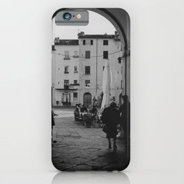 Italian old women walking through a gate| Lucca, Italy | Analog photography black and white art print iPhone Case