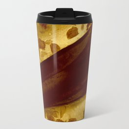 golden drape with marsala flowers Travel Mug
