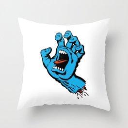 Skatebaording Screeming Hand Blue Throw Pillow
