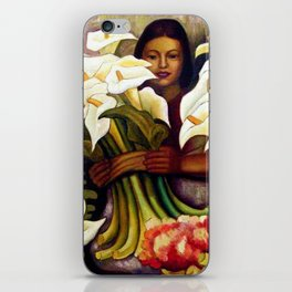 1938 Classical Masterpiece 'Alcatraces Flower Seller' by Diego Rivera iPhone Skin