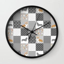 Corgi Patchwork Print - grey, dog, buffalo plaid, plaid, mens corgi dog Wall Clock
