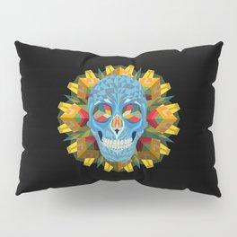 Blue Skull with Mandala Pillow Sham