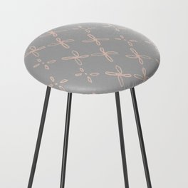 Pink & Gray Abstract Astral Pattern Counter Stool