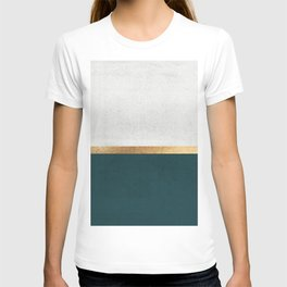 Deep Green, Gold and White Color Block T-Shirt