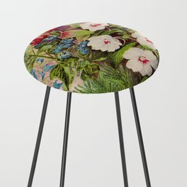 Vintage Flowers Advertisement Collage Counter Stool