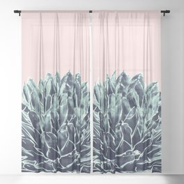 Blush Navy Blue Agave Chic #1 #succulent #decor #art #society6 Sheer Curtain