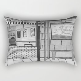 London Coffee Shop in Black and White Rectangular Pillow