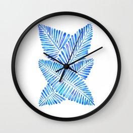 Tropical Banana Leaves – Blue Palette Wall Clock