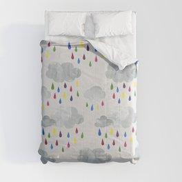 Rainbow Rain Clouds Comforters