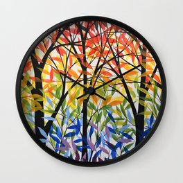 Abstract Art Original Landscape Painting ... Spectrum of Trees Wall Clock
