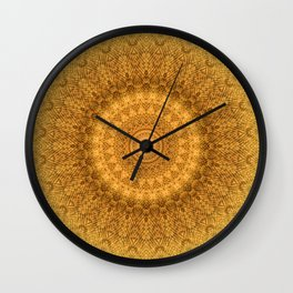 Sunflower Feather Bohemian Sun Ray Pattern \\ Aesthetic Vintage \\ Yellow Orange Color Scheme Wall Clock