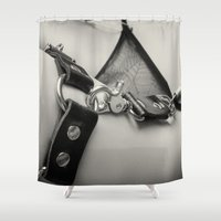 leather Shower Curtains featuring Leather Lingerie by davehare