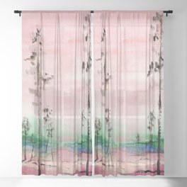 Pink and Green Watercolor Landscape Sheer Curtain