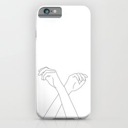 Crossed hands line drawing - Edie iPhone Case
