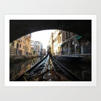 View from a gondola in Venice, Italy Art Print