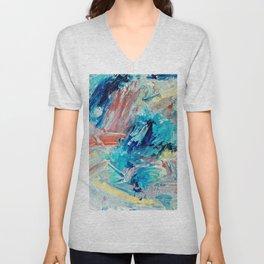 Contemporary Abstract Splash Landing Unisex V-Neck