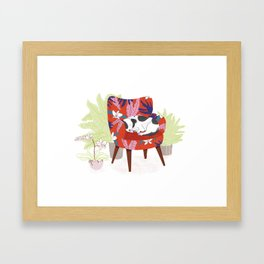 Sleeping Dog in Armchair – Light Version Framed Art Print