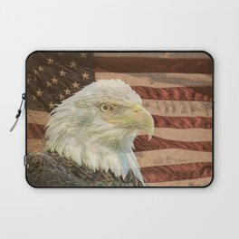 Rustic Bald Eagle on American Flag A213 Laptop Sleeve