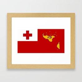 Tonga Flag with Tongan Map Framed Art Print