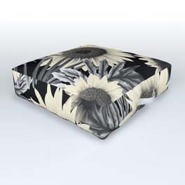 Tropical Sunflower Jungle Night Leaves Pattern #2 #tropical #decor #art #society6 Outdoor Floor Cushion