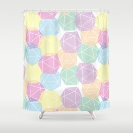 Pastel D20 Pattern Dungeons and Dragons Dice Set Shower Curtain