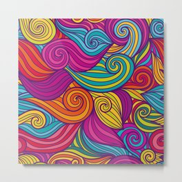 Vivid Whimsical Jewel Tone Retro Wave Print Pattern Metal Print