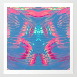 Rorschach Rainbows, Calypso Blue and Bubblegum Pink Art Print
