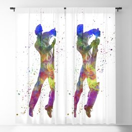 Cricket player batsman silhouette 05 Blackout Curtain