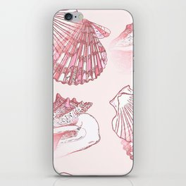 Seashells Coastal Nautical Pattern Pink iPhone Skin