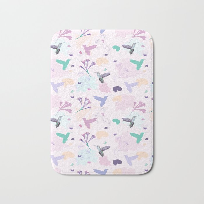 Hummingbird and flower pastel petal pattern Bath Mat