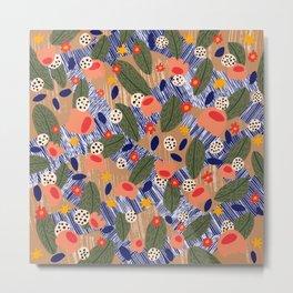 bright coral garden collage Metal Print