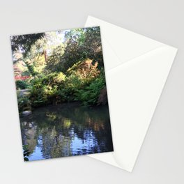 Kubota Garden pond with red bridge Stationery Cards