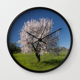 Solitary almond tree in Portugal Wall Clock