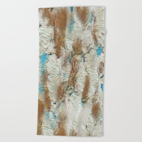 Earthy Floral Abstract Beach Towel