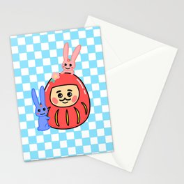 Embracing the Daruma (with blue little windows) Stationery Cards
