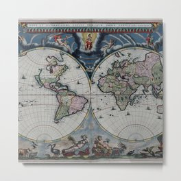 Old World Map print from 1664 Metal Print