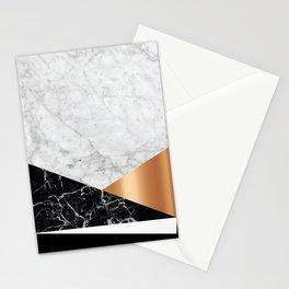White Marble - Black Granite & Rose Gold #715 Stationery Cards