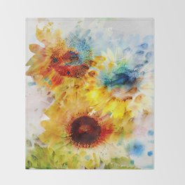 Watercolor Sunflowers Throw Blanket