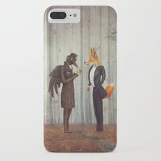Raven and Fox in  a dark forest looking at the watch iPhone 7 Plus Slim Case