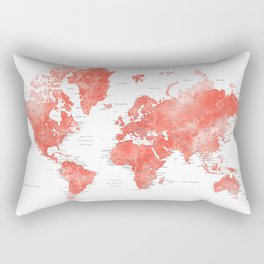 Living coral watercolor world map with cities Rectangular Pillow