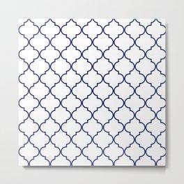 quatrefoil - navy Metal Print