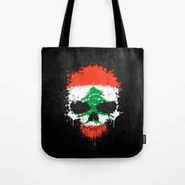 Flag of Lebanon on a Chaotic Splatter Skull Tote Bag