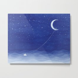 Follow the moon, watercolor blue ocean sea sailboat Metal Print
