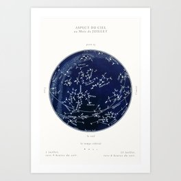 French July Star Maps in Deep Navy & Black, Astronomy, Constellation, Celestial  Art Print