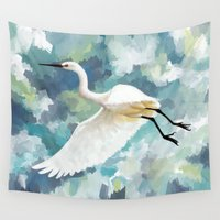 florida Wall Tapestries featuring Florida Egret by Freeminds